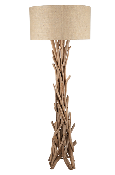 Driftwood Base Beach House Floorstanding Lamp With Natural Jute Shade MP32-078-K
