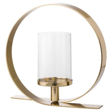 Loop Design Gold And Glass Hurricane Candle Holder MH20070